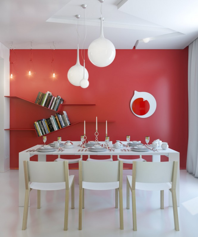 red-white-dining-room-modern-light-fixture-665x798